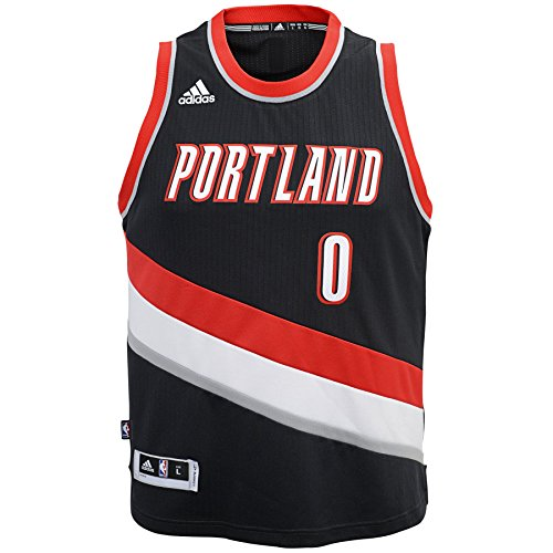 OuterStuff NBA Portland Trail Blazers Damian Lillard Boys Player Swingman Road Jersey, Large (14-16), Black (Swingman Portland Trailblazers Jersey)