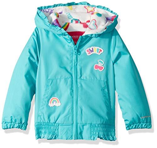 (London Fog Girls' Toddler Floral Printed Fleece Lined Jacket, Aqua sea, 3T)