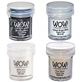 Wow! Embossing Powder Super Fine Black & White Bundle: Primary Ebony, Opaque Bright White, White Pearl, Clear Gloss, 15ml
