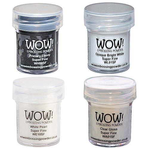 Wow! Embossing Powder Super Fine Black & White Bundle: Primary Ebony, Opaque Bright White, White Pearl, Clear Gloss, 15ml by Wow! Embossing Powders