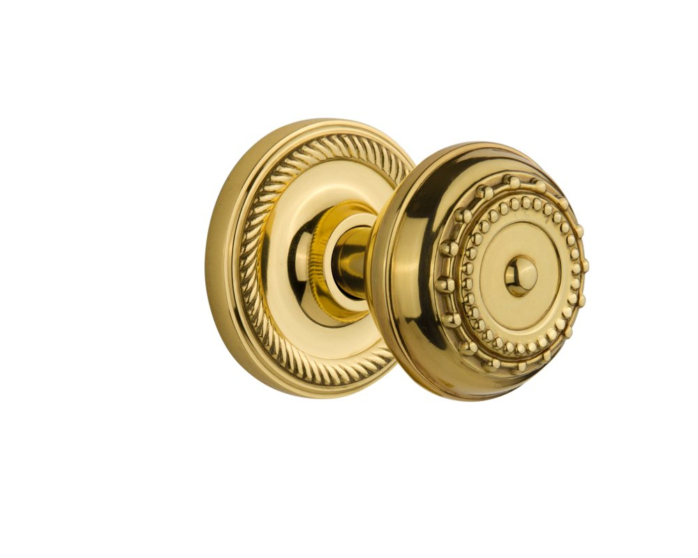 2.375 Nostalgic Warehouse Rope Rosette with Meadows Knob Passage Unlacquered Brass