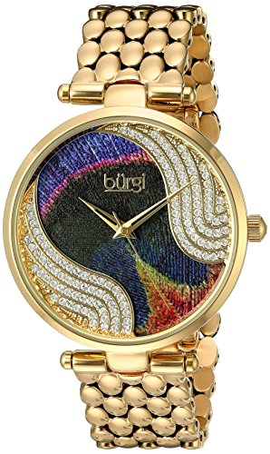 Burgi Women's Genuine Swarovski Crystal Peacock Feather Pattern Dial With Gold-Tone Case on Gold-Tone Stainless Steel Bracelet Watch BUR162YG
