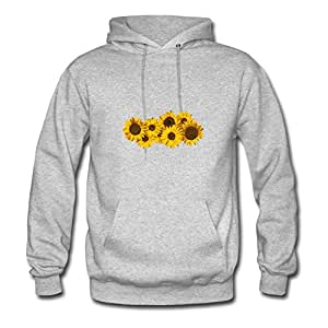 Long-sleeve Sunflowers Sweatshirts Comfortable Designed Grey Cotton X-large Women Custom