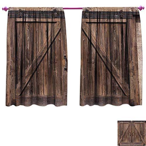 homefeel Rustic Window Curtain Fabric Wooden Barn Door in Stone Farmhouse Image Vintage Desgin Rural Art Architecture Print Waterproof Window Curtain W55 x L45 Beige