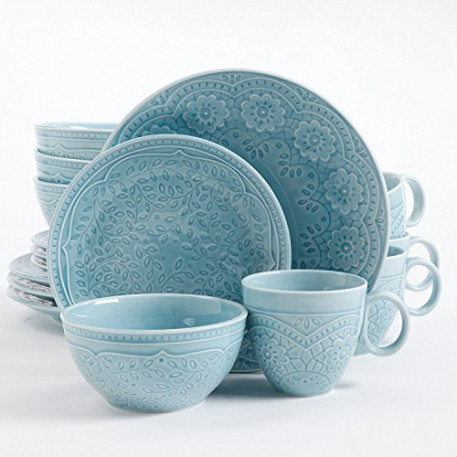 (Gibson Elite Alemany 16 Piece Dinnerware Set, Aqua)
