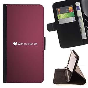 Momo Phone Case / Flip Funda de Cuero Case Cover - Ubuntu amor por la vida del corazón Texto Wallpaper Purple - Huawei Ascend P8 (Not for P8 Lite)