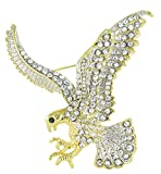 Eagle Rhinestone Brooch Pin for Independence Day with Clear Crystals