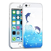 kwmobile Crystal Case for Apple iPhone SE / 5 / 5S with Design dolphin - transparent Protection Case Cover clear in blue white transparent
