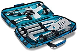BOMKI 18 PC Grilling and Cooking Set for the outdoors barbeque - High Grade Stainless Steel Camping Grill Tool Set with Stylish carrying bag - Ergonomic long heat resistant handle utensil