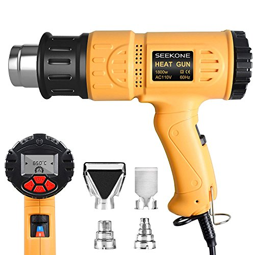 SEEKONE Heat Gun Industrial Hot Air Gun Kit 1800w 122℉~1202℉(50℃~650℃) with LCD Display Digital Precision Temperature Control, Dual Temp-settings for Removing Paint, Bending Pipes, Shrinking PVC by SEEKONE
