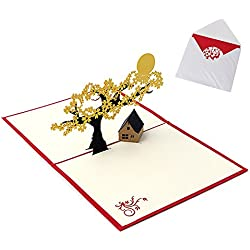 Blue Stones 3D Pop UP Holiday Greeting Cards Cherry Tree House Christmas Thanksgiving Gift