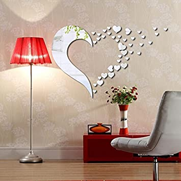 Mirror Wall Stickers Heart Shaped Wall Mirror Decor Silver Heart Wall Decals,  Peel Part 38