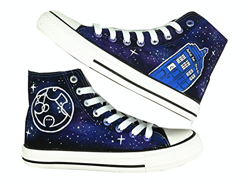 Doctor Who Tardis Canvas Shoes High Top Circular Gallifreyan Painted Fashion Sneaker For Women Men EUR 38/240mm