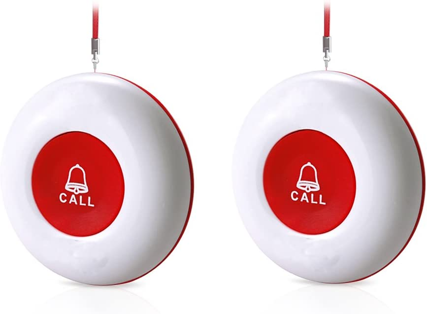 CallToU Wireless Call Buttons for Caregiver Pager and Restaurant Calling Pager Waterproof 500+ Feet Operating Range for Elderly/Patient/Disable(Need to Be Paired with Receiver to Work)