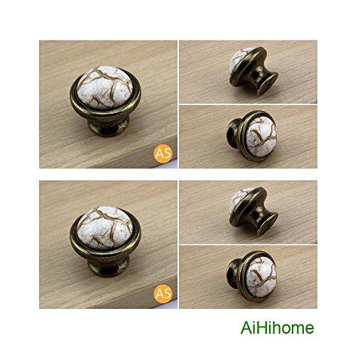 A5 Antique Brass (10pcs Kitchen Cabinet Drawer Ceramic Knobs Pulls with Bronze Vintage Antique for Cupboard,Furniture,Wardrobe,Dresser (A5: D-1.5inch))