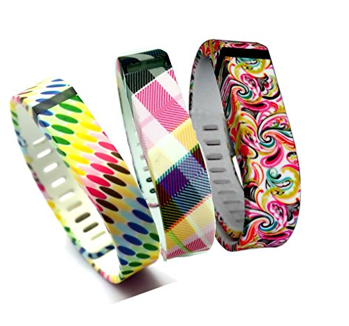 Smart Tech Store 3PCS Set Colorfull Squares, Colorfull Flowers and Colorfull Circles Style Replacement Band With Clasp for Fitbit FLEX Only /No tracker/ Wireless Activity Bracelet Sport Wrist band Fit Bit Flex Bracelet Sport Arm Band Armband