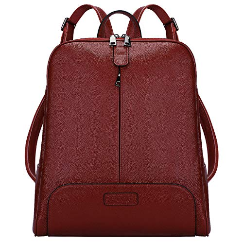 S-ZONE Women Genuine Leather Backpack Purse Travel Bag Upgraded 3.0