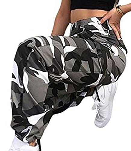 Faithtur Women's Military Camouflage Pant Pocket Cargo Pant Relaxed Fit BDU Pant Camo (Label S/US 4-6, (6 Pocket Bdu Cargo Pants)