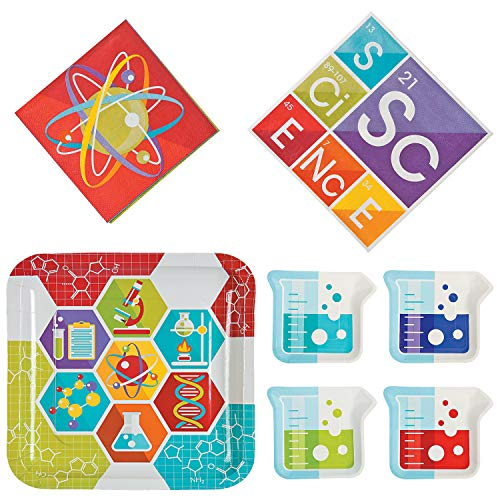 William & Douglas Science Party Bundle | Luncheon & Beverage Napkins, Dinner & Dessert Plates | Great for Science and Experiment Themed Parties -