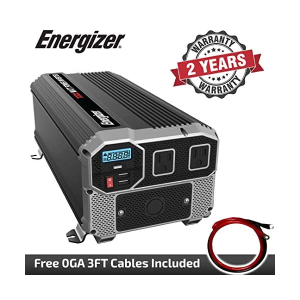 Energizer-3000-Watts-Power-Inverter-12V-to-110-Volts-Modified-Sine-Wave-Car-Inverter-Dual-AC-Outlets-2-USB-Ports-24A-ea-and-Hardwire-Kit-Battery-Cables-Included-METLab-Approved-Under-UL-STD-458