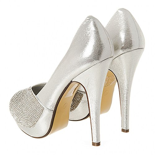 Womens Ladies High Heel Shoe with Open Toe Platform & Diamante Detailing Silver xBJeI7VLZA