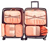 Packing Cubes 7pcs my FL Backpack Organizers Set for Carry on Travel Bag Luggage Cube (New Pink)