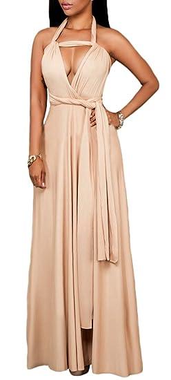 14aeb70b2be0 Amazon.com  MLG Womens Halter Neck Deep V-neck Sexy Maxi Party Dress ...