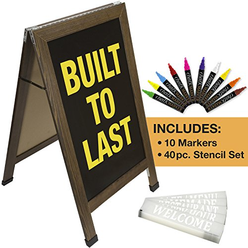 Sandwich Board Sidewalk Chalkboard Sign: Reinforced, Heavy-Duty / 10 Chalk Markers / 40 Piece Stencil Set/Chalk / Eraser/Double Sided/Large 40x23 Chalk Board Standing Sign A-Frame (Rustic) by Excello Global Products