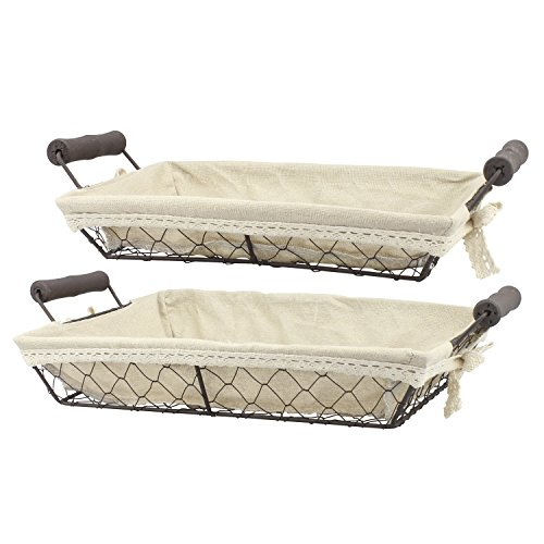 Stonebriar 2pc Rectangle Metal Serving Basket Set with Decorative Fabric Lining, Rustic Serving Trays for Parties, Centerpiece for Coffee or Dining Table, Document Organizer for Office or Kitchen by Stonebriar