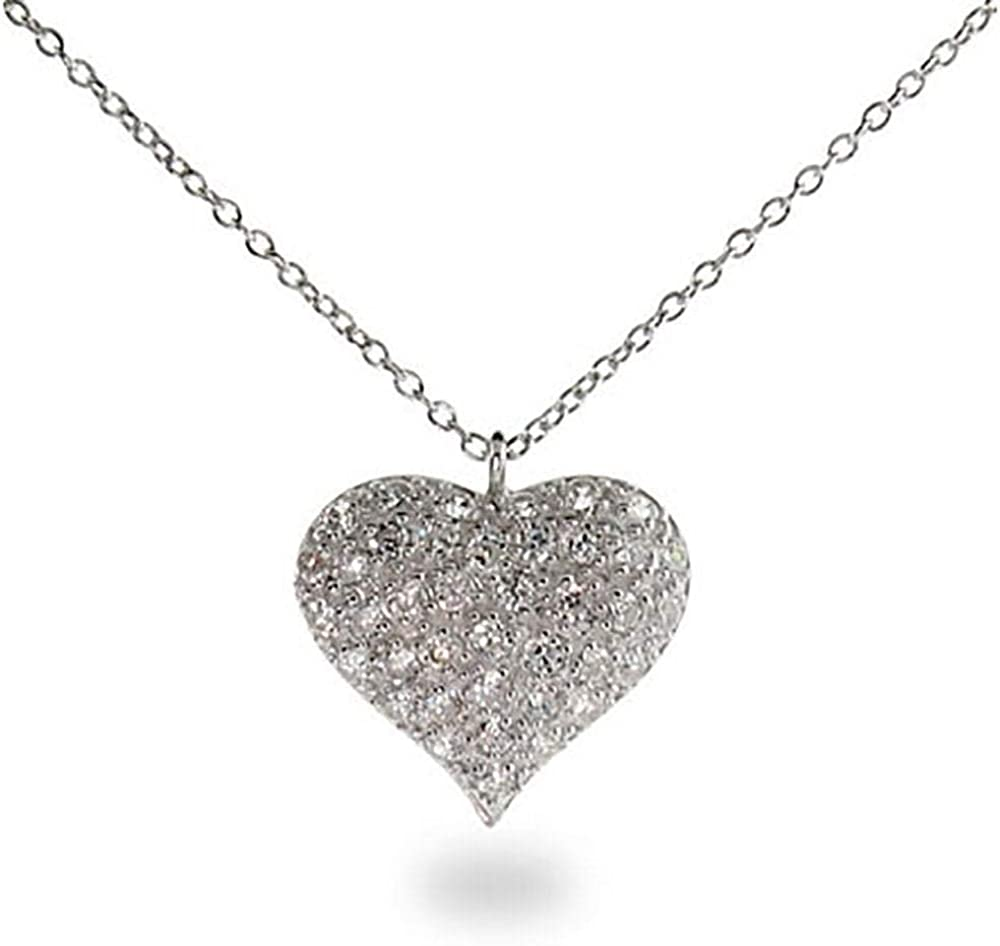 Large Heart CZ Crystal Pave Love Charm Pendant /& Necklace in 925 Sterling Silver