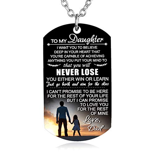 FAYERXL to My Son Daughter Gift Ideas from Dad Mom Colorful Dog Tag Necklace Men Boy Girl Birthday Gift (to My Daughter)