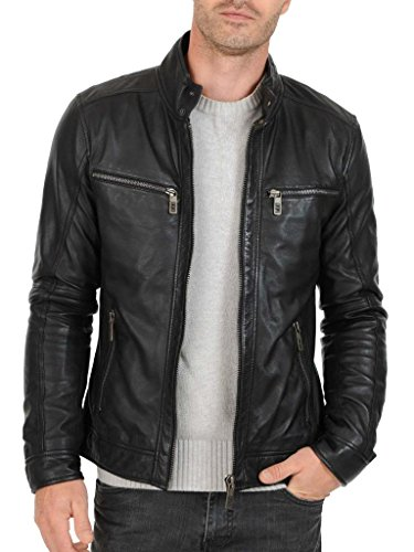 Exemplar Mens Genuine Lambskin Leather Jacket Black KL763 at Amazon Mens Clothing store: