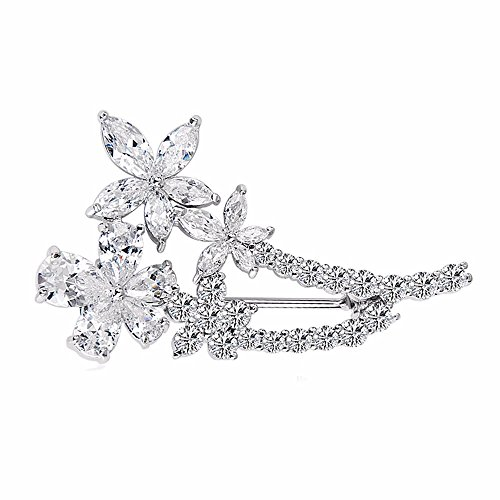 GULICX Valentine Present Jewelry Floral Leaf White Brooch Zicon Silver Tone Pin for Women Gift ()