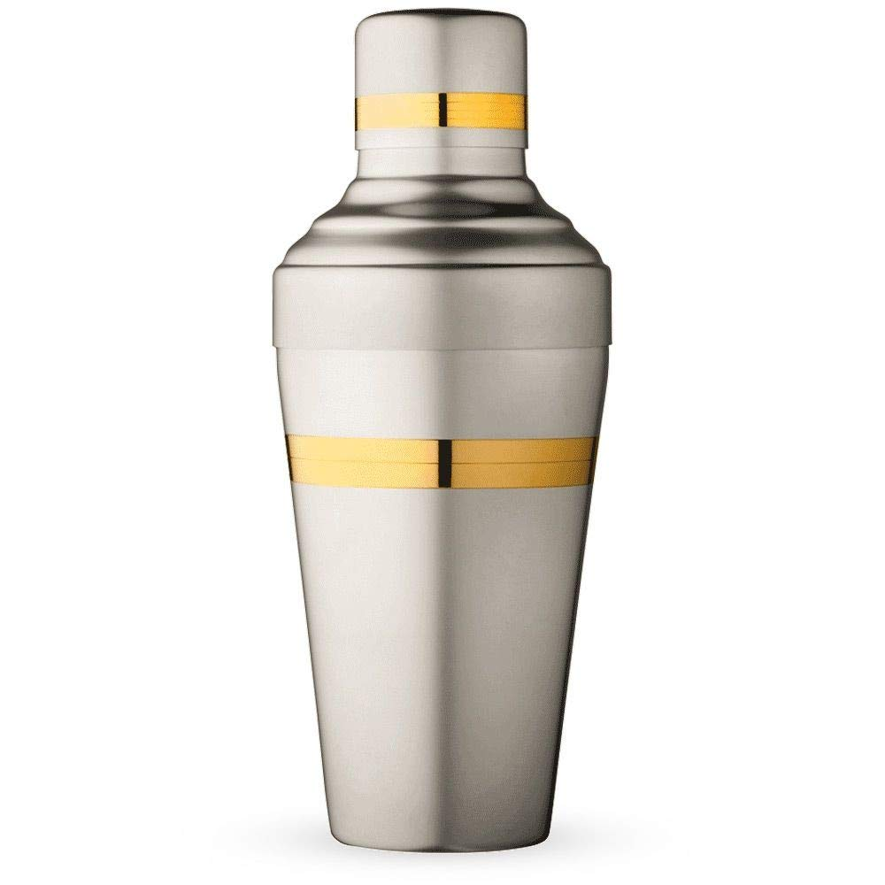 Urban Bar Japanese Yukiwa Baron Cocktail Shaker - Matte Steel with Gold Plated Bands - 16.9 Ounces
