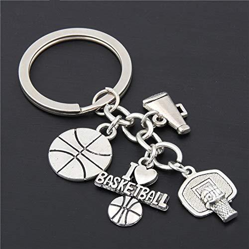 1PC Silver Pendant Love Soccer/Baseball/Basketball Shoe Key Gift Accessory Cheer - -