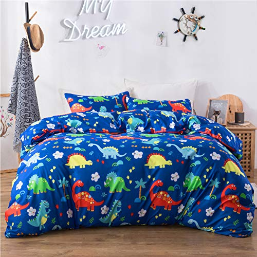 Macohome Boys Bedding Dinosaur Kids Duvet Cover Set Twin Cartoon Comforter Cover with 1 Envelope Pillowcase and 1 Duvet Cover (Dinosaur, Twin)