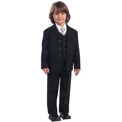 Boys black, one button suit set with shirt, jacket, vest, and tie