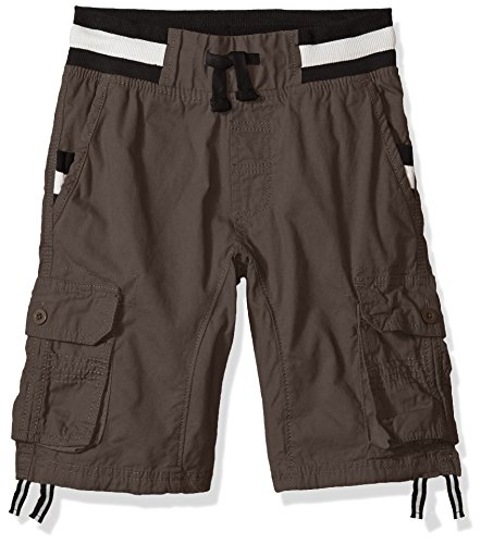 Southpole Boys' Big Twill Cargo Jogger Shorts in Basic Solid Colors, Grey Stripe, Medium