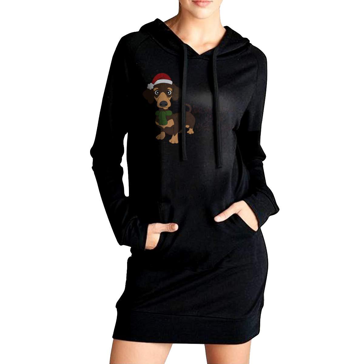 Northern Nebula Dachshund Dog Womens Long Sleeve Hoodie Tunic Dress Solid Pullover Loose Sweatshirt Long Tops