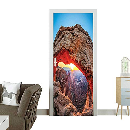 Homesonne 3D Door Decals at Arch in Cany Lands Park Utah USA Landmark Blue Light Brown and Self Adhesive Door DecalW23.6 x H78.7 INCH -