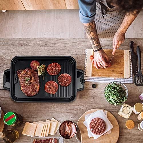 HengBo Raclette 8 Personnes Barbecue Electrique de Table Sans Fumée, BBQ Electrique avec bac de récupération pour Appartement Balcon Jardin, Température réglable 1300W - Noir