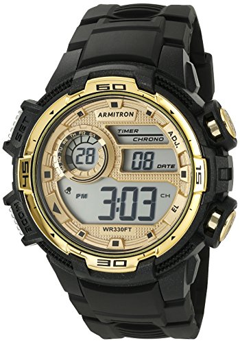 Armitron Sport Men's 40/8347BKGD Gold-Tone Accented Digital Chronograph Black Resin Strap Watch (Resin Strap Black)