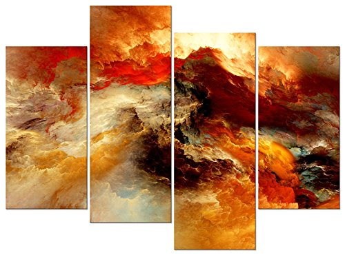 Pyradecor Large Giclee Canvas Prints Wall Art Colorful Clouds Landscape Pictures Paintings for Living Room Bedroom Home Decorations 4 Piece Modern Orange Abstract Stretched and Framed Artwork