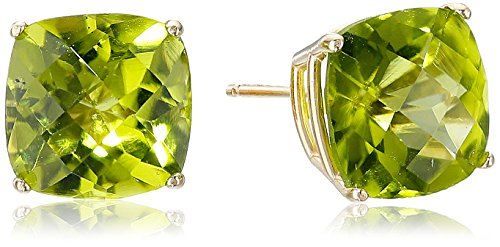 (14k Yellow Gold Cushion-Cut Checkerboard Peridot Stud Earrings (8mm))