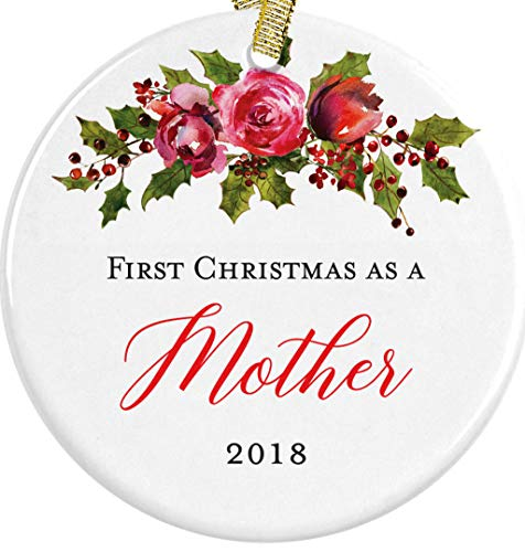 Our First Christmas as a Mother or Mommy 2018 New Mom Gift Idea Floral Ceramic Round Ornament, 3