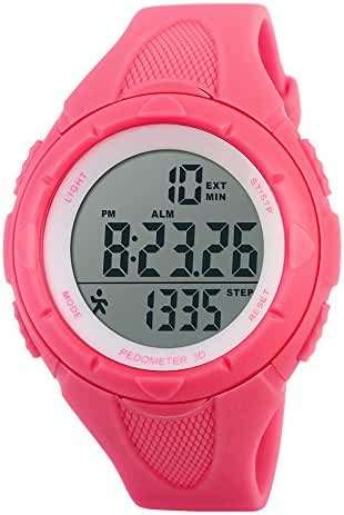 TOPCABIN Children Waterproof Sports Watch Step Gauge Watch Electronic Outdoor Watch For Boys Digital Watch For Girls Rose Red