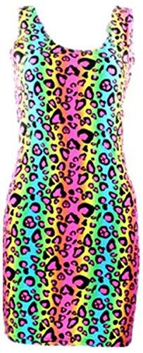 Neon Multi Colored Cheetah Animal Print Tube Bodycon Party Dress Costume (XS, Multicolor) Animal Print Tube Dress