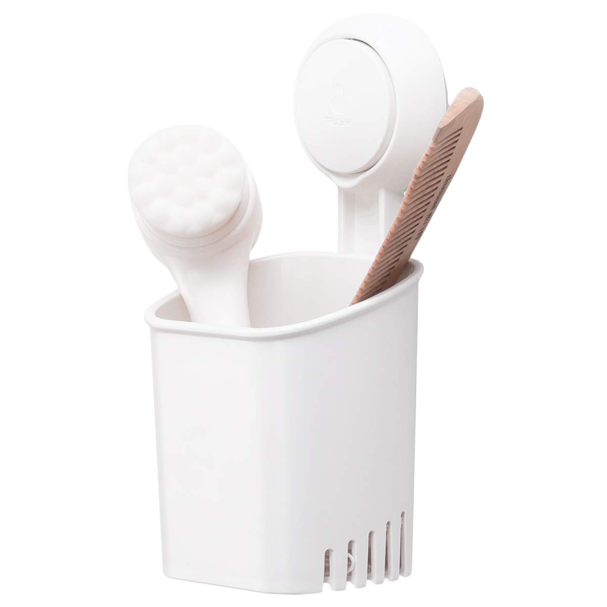TAILI DIY Drill-Free Removable Vacuum Suction Cup Shower Caddy Toothbrush Holder with 4 Cups Washroom Bathroom Organizer