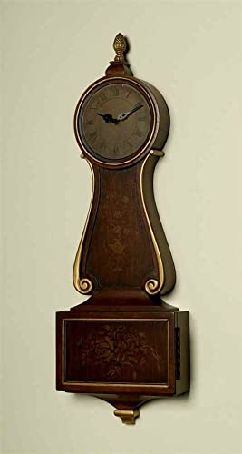 Decorative Wood Hanging Wall Clock with Key Compartment