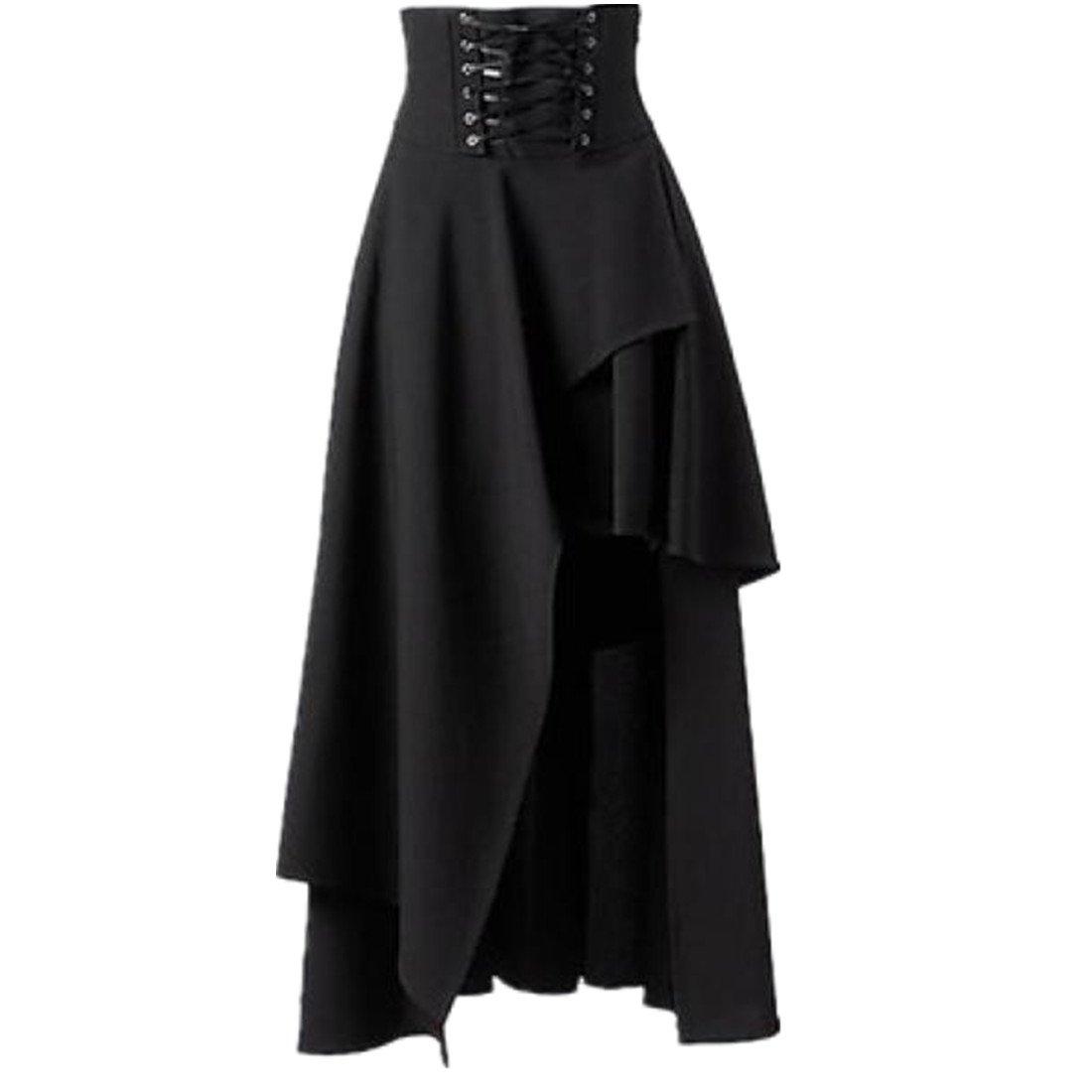 Sunward (TM) Women Fashion Pleated Black Irregular Bandage Skirt YLL60805527